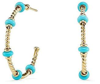 David Yurman Rio Rondelle Large Hoop Earrings with Turquoise & 18K Gold