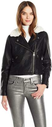 Members Only Women's Faux Leather Moto Jacket with Contrast Fur Collar