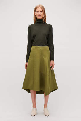 Cos COTTON ASYMMETRIC-HEM SKIRT