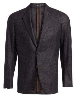 Ermenegildo Zegna Men's Melange Check Wool Blazer - Grey - Size 50 (40) R