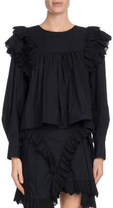 Etoile Isabel Marant Matias Cropped Ruffle-Trim Cotton Top