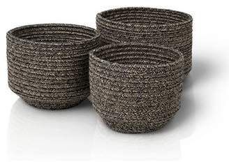 Blomus Round Woven Fabric 3 Piece Basket Set