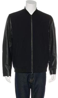 Vince Leather Sleeve Bomber Jacket