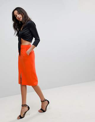 Asos DESIGN Tailored Split Front Pencil Skirt