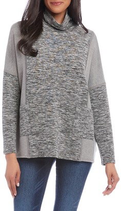 Karen Kane Contrast Pocket Cowl Neck Top
