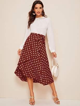 Shein Ruffle Hem Self Belted Polka Dot Wrap Skirt