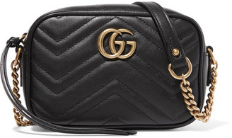 Gucci - Gg Marmont Camera Mini Quilted Leather Shoulder Bag - Black $980 thestylecure.com