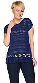 C. Wonder Knit Crochet Extended Shoulder Top w/Tassel Trim