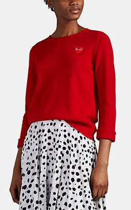 Comme des Garcons Women's Heart-Patch Wool Sweater - Red