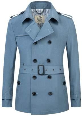 Forever 21 E-artist Men's Trench Coat Long Double Breasted Overcoat Blue XXX-Large