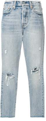Levi's ripped cropped jeans