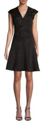 Carmen Marc Valvo Cap-Sleeve A-Line Dress