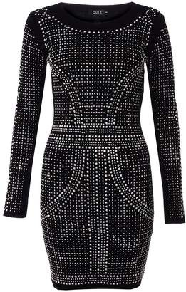 Quiz Black and Silver Knit Long Sleeve Embellished Dress