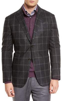 Ermenegildo Zegna Windowpane Two-Button Silk Blazer, Dark Gray $2,795 thestylecure.com