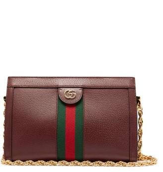 af1af282363f7d Gucci Ophidia Web Stripe Leather Shoulder Bag - Womens - Burgundy