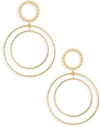 Argentovivo Beaded Double Hoop Drop Earrings