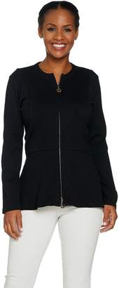 Linea By Louis Dell'olio by Louis Dell'Olio Zip Front Hi-Low Peplum Jacket