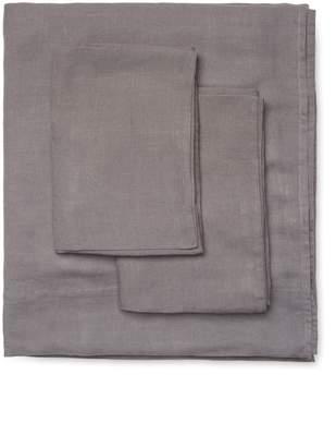 Melange Home Belgian Linen Plain Hem Sheet Set