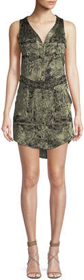 Haute Hippie Crystal-Ball V-Neck Sleeveless Embellished Silk Dress