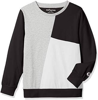 Kid Nation Kids' Long Sleeve Contrast Patchwork T-Shirt for Boys or Girls XS