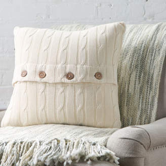 Three Posts Harrietstown Cable-Knit 100% Cotton Throw Pillow