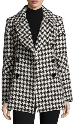 Sofia Cashmere Houndstooth Double-Breasted Alpaca-Wool Pea Coat