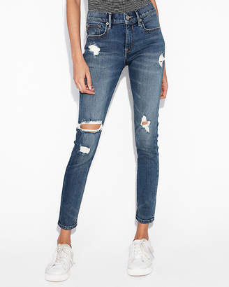 Express Mid Rise Ripped Stretch+Performance Ankle Jean Leggings