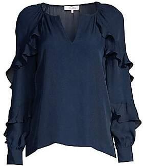 Parker Women's Julian Ruffled Solid Silk-Blend Blouse