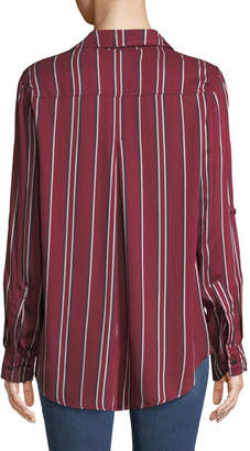 Velvet Heart Elisa Striped High-Low Button-Down Blouse