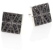 John Hardy Modern Chain Black Sapphire& Sterling Silver Stud Earrings