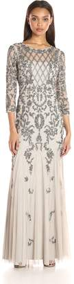 Adrianna Papell Women's Long Sleeve Beaded Gown