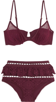 Zimmermann - Good Times Ruffled Broderie Anglaise And Point D'esprit Triangle Bikini - Burgundy $740 thestylecure.com
