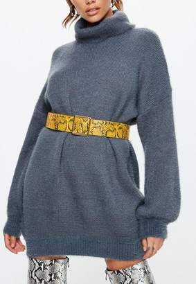 Missguided Mustard Yellow Snake Square Buckle Belt