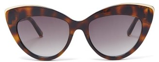 Le Specs Beautiful Stranger Cat Eye Acetate Sunglasses - Womens - Khaki Multi