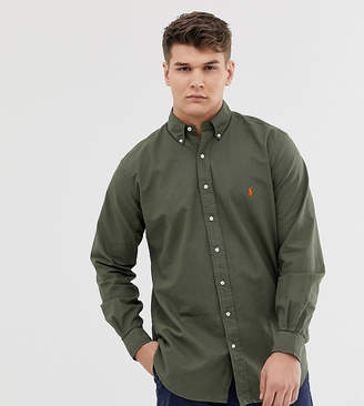 Polo Ralph Lauren big & tall garment dyed shirt with button down collar in olive green