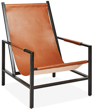 One Kings Lane Wright Sling Chair - Gunmetal/Brown Sugar Leather