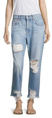 7 For All Mankind Josefina High-Waist Distressed Cropped Boyfriend Jeans $229 thestylecure.com