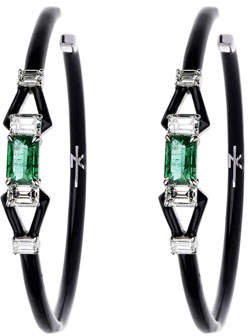 Nikos Koulis 18k White Gold Oui Diamond & Emerald Hoop Earrings