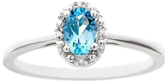 Sterling Oval Gemstone Ring w/ Diamond Accent