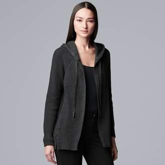 Vera Wang Women's Simply Vera Hooded Cardigan Sweater