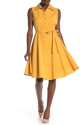 Sharagano Sleeveless Button Up Shirt Dress