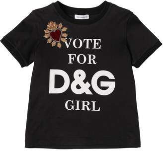 Dolce & Gabbana Vote For Girl Cotton Jersey T-Shirt