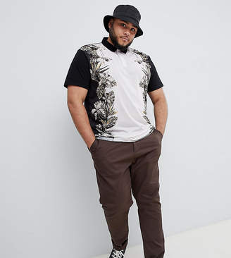 Asos DESIGN Plus relaxed polo with floral print