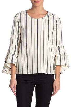 Karen Kane Layered Bell Sleeve Striped Blouse