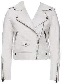 Mackage Women's Bessie Cropped Leather Jacket - Off White - Size XXS