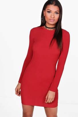 boohoo Ribbed Basic Long Sleeve Bodycon Dress