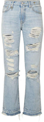 R 13 Bowie Distressed Mid-rise Straight-leg Jeans - Light denim