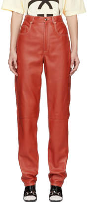 Gucci Orange Leather Trousers