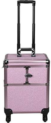 Sunrise Interchangeable 3-tiers Accordion Trays Professional Rolling Aluminum Cosmetic Makeup Train Organizer Storage Case