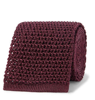 Tom Ford 7.5cm Knitted Silk Tie - Men - Burgundy